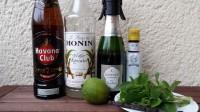 Zutaten für den Old Cuban: gereifter kubanischer Rum, Zuckersirup, Champagner Brut, Angostura Bitters, eine Limette, Minze und eine Vanilleschote.