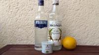 Zutaten für den Wasabi Martini: Vodka, Zuckersirup, eine Zitrone und Wasabi-Paste.