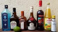 Zutaten für den Singapore Sling: Gin, Cherry Brandy, Cointreau, Bénédictine, Grenadine, Ananassaft, Angostura Bitters und Limettensaft.